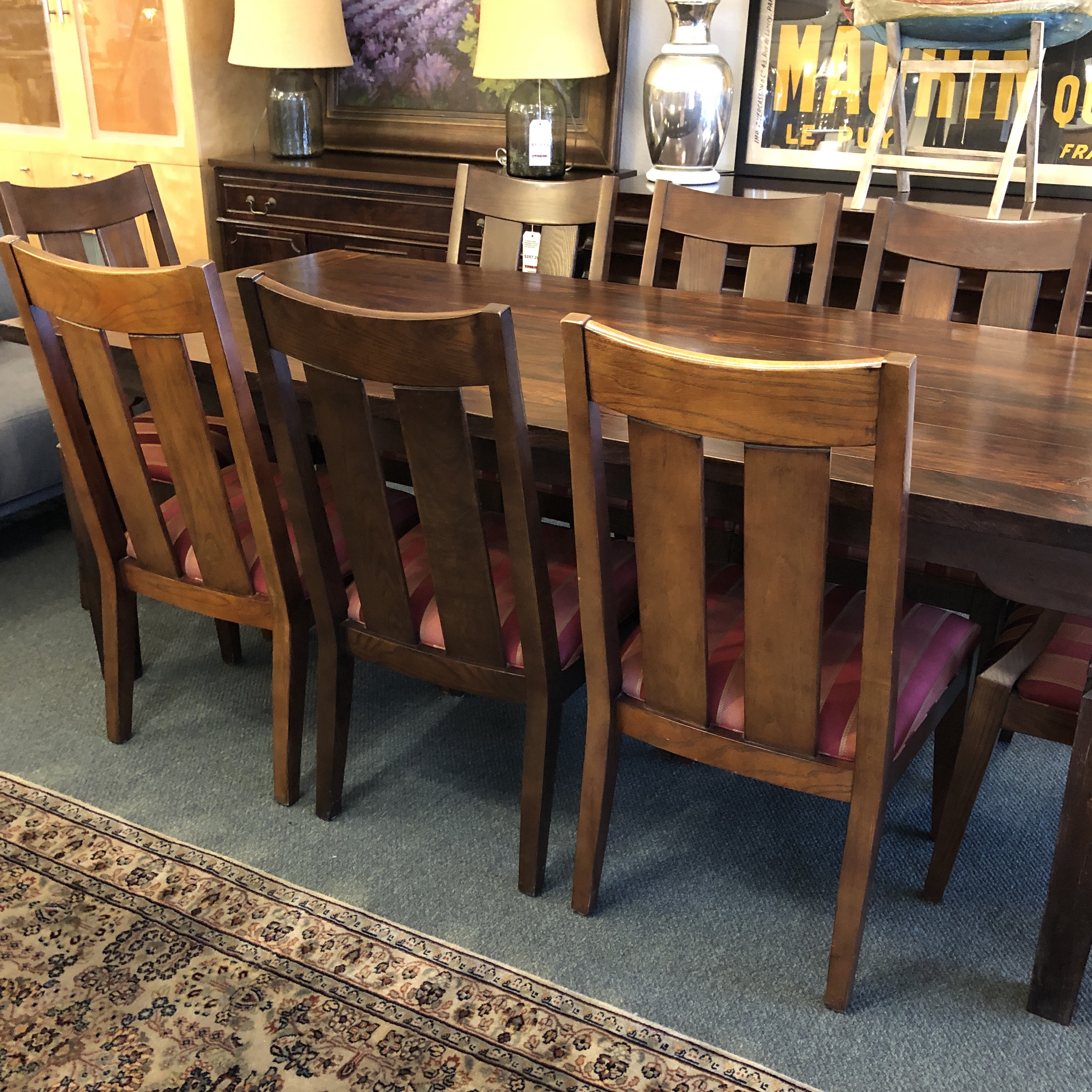 Contemporary Farm Style Table And Ethan Allen Dining Chairs, A Set For Sale    Image