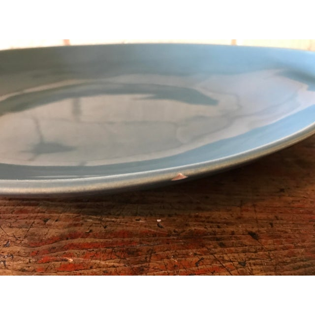 Vintage Pottery Palette Shaped Blue Glazed Platter For Sale - Image 5 of 8