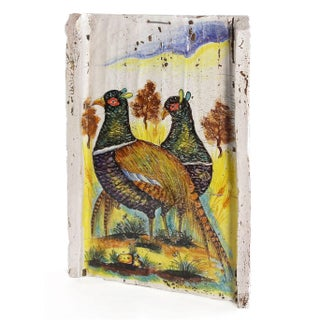 Italian Hand Painted Pheasant Plaque For Sale