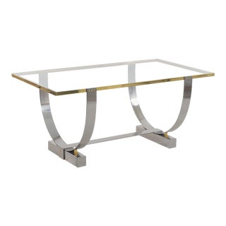 Art Deco Chromed Steel, Brass and Glass Console Table by Donald Deskey For Sale