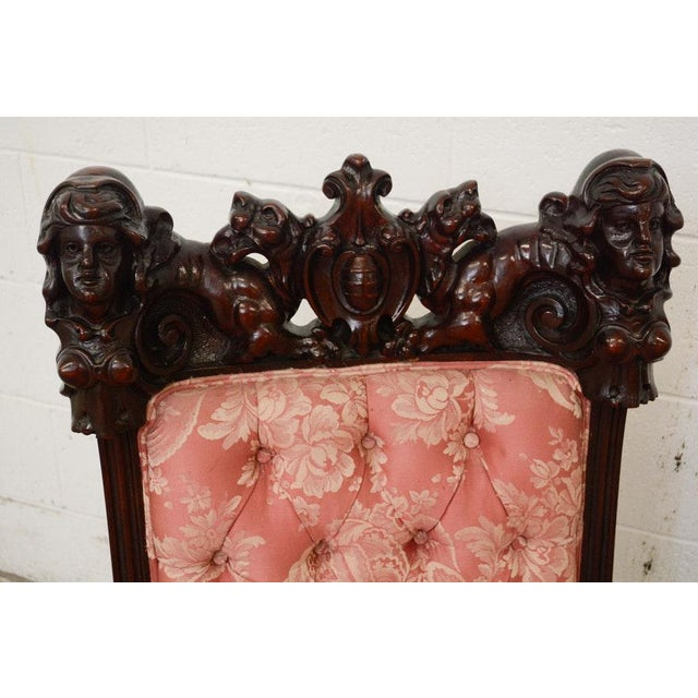 Pink Early 20th Century Vintage S. Karpen & Bros. Renaissance Revival Mahogany Parlor Set- 3 Pieces For Sale - Image 8 of 13