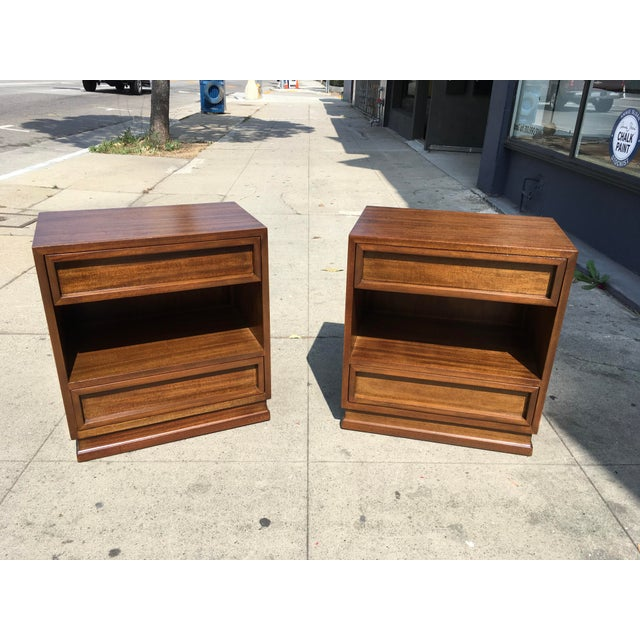 1950s Mid Century Modern Triangle Brand Mahogany Nightstands - a Pair For Sale - Image 11 of 11