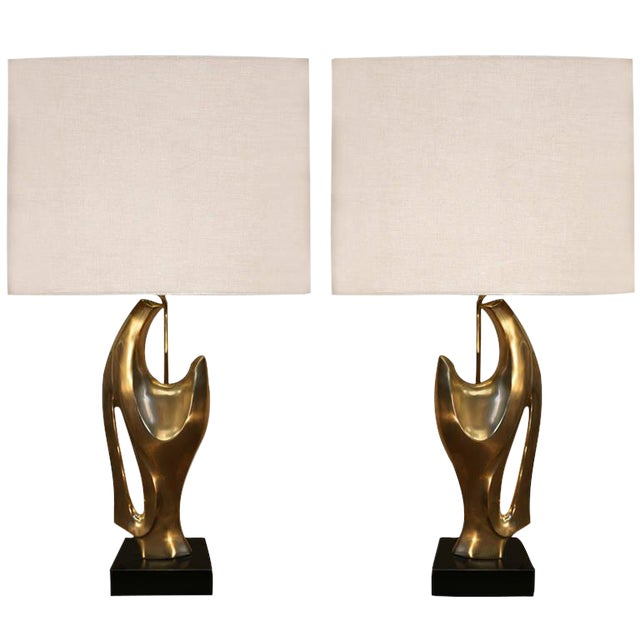 Pair of Philippe Jean Abstract Sculptural Bronze Lamps For Sale