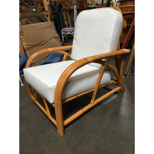 Boho Chic Restored 1949 Rattan Reclining Lounge Chair With Arched Arms For Sale - Image 3 of 8