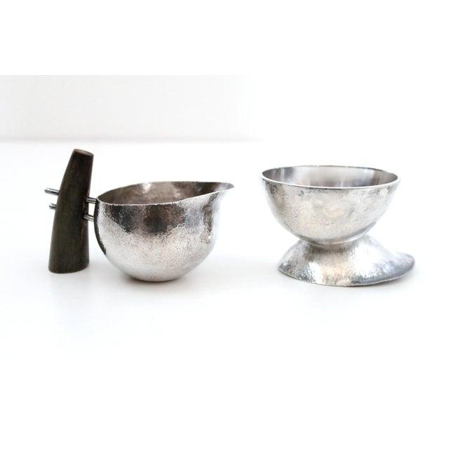 Sculptural Modernist Sterling Creamer and Sugar Bowl For Sale - Image 11 of 11