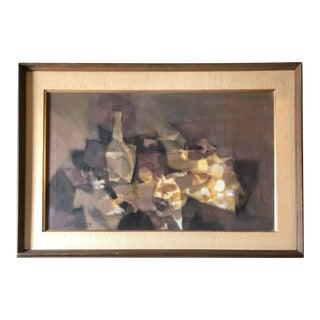 Original Vintage 1950's Cubist Still LifeMid Century Modern Painting Signed For Sale