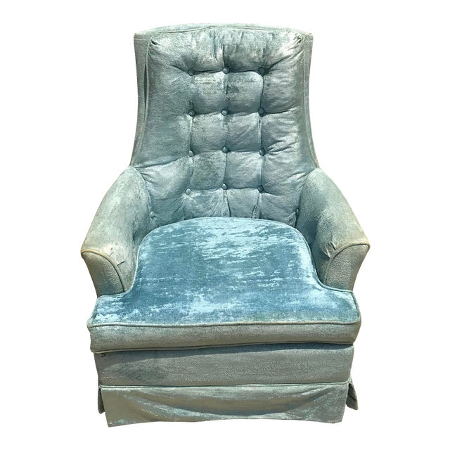 Vintage Baby Blue Velvet Swivel Rocker For Sale