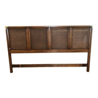 Regency Thomasville Mid Century King Headboard With Cane Panels Walnut + Brass Accents For Sale