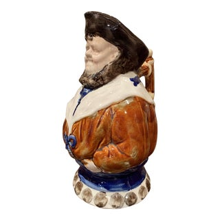 19th Century Belgium Painted Ceramic Barbotine Sailor Pitcher From Nimy Les Mons For Sale