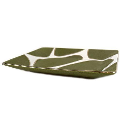 Waylande Gregory small rectangle tray with green/white/gold giraffe/pebble print. The pieces are handmade by Peruvian...