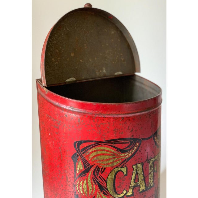 1920s Large French Country Store Coffee Tin For Sale - Image 9 of 11