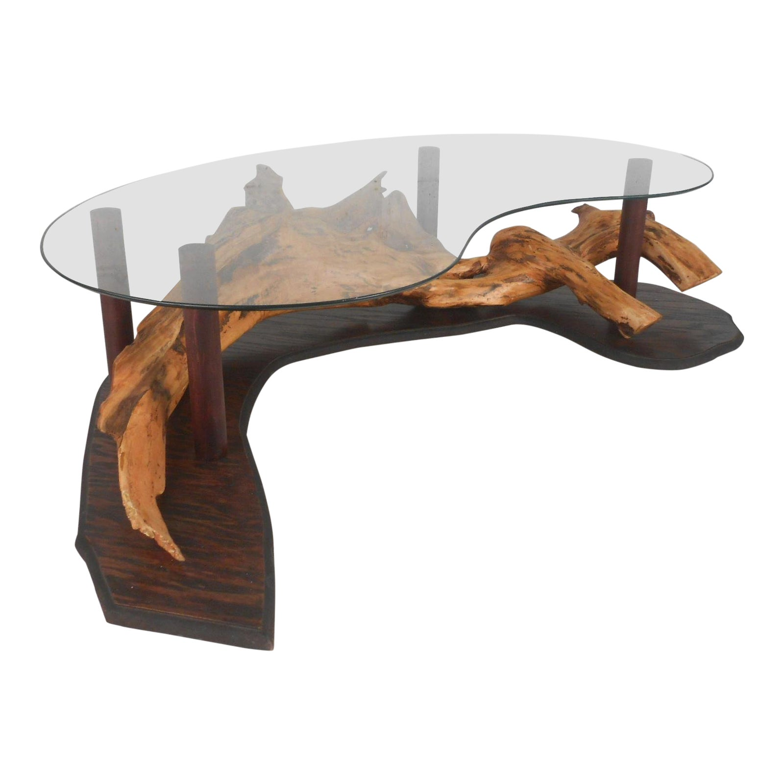 Unique Mid Century Modern Rustic Driftwood Glass Top Coffee Table Chairish