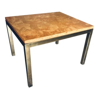1950s Mid-Century Modern Tomlinson Furniture Burl and Brass End Table For Sale