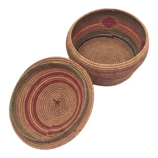 Northwest Coast Salish Lidded Coiled Basket For Sale