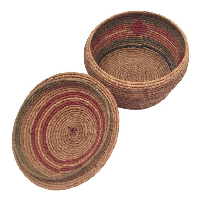 Northwest Coast Salish Lidded Coiled Basket For Sale