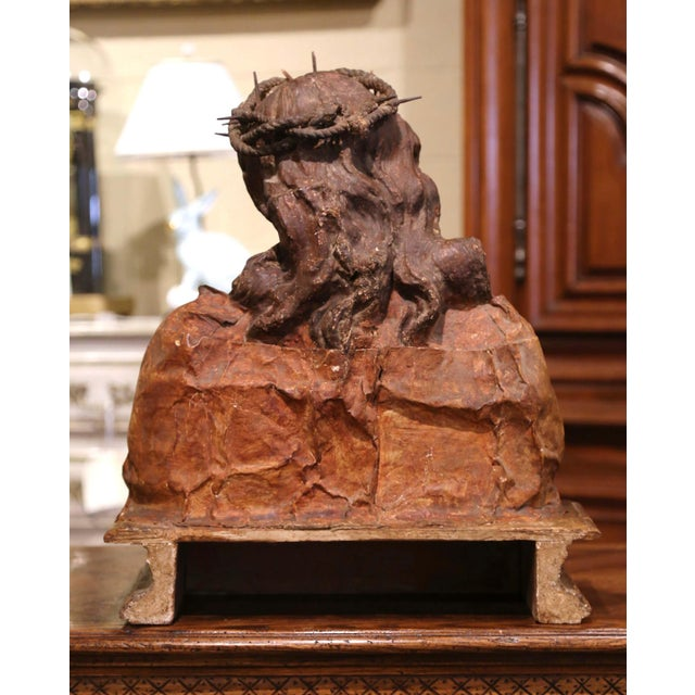 18th Century Italian Carved Paper Polychrome Mâché Christ Bust on Wooden Stand For Sale In Dallas - Image 6 of 9