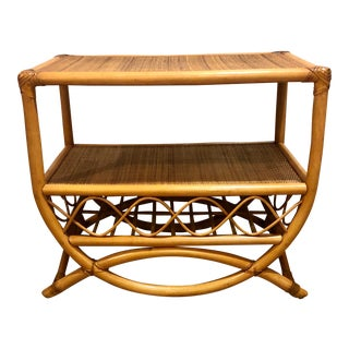 Boho Chic Mid Century Modern Bamboo and Rattan Leather Wrapped Side Table For Sale