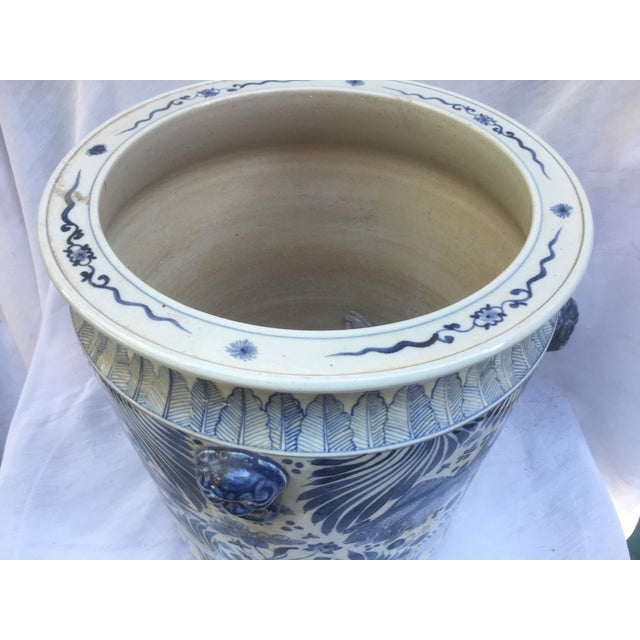 Blue & White Chinese Fish Motif Planter - Image 6 of 10