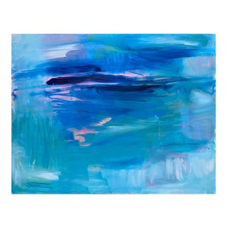 "Extra-Large ""Blue Curacao"" by Trixie Pitts Abstract Oil Painting For Sale"