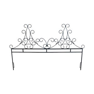 Hollywood Regency Vintage Scrolled Wrought Iron & Brass King Headboard For Sale