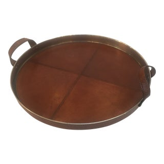 Contemporary Burnt Umber Leather Tray
