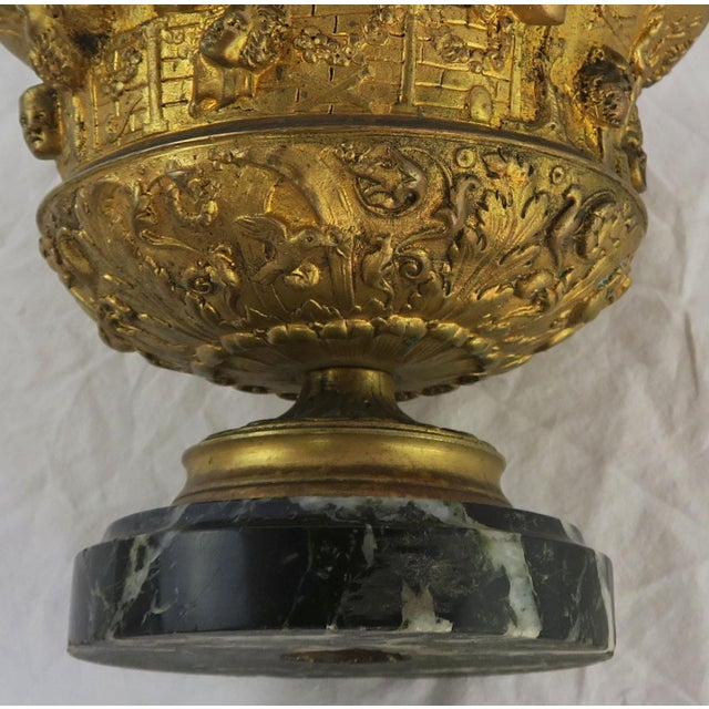 19th C. Bronze Tazza on Marble Base For Sale - Image 9 of 13