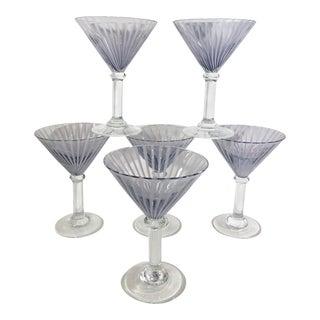 Contemporary Hand Blown Purple Swirl Martini Glasses - Set of 6 For Sale