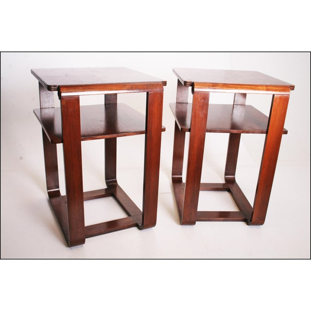 Vintage Art Deco Two Tier Wood Side Tables - A Pair - Image 8 of 11