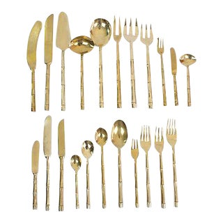 Bronze Bamboo Flatware, 99 Pcs.
