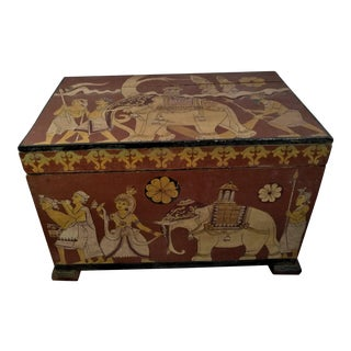 Antique Tea Chest Sri Lanka/Ceylonese Royal Procession Hand Painted For Sale