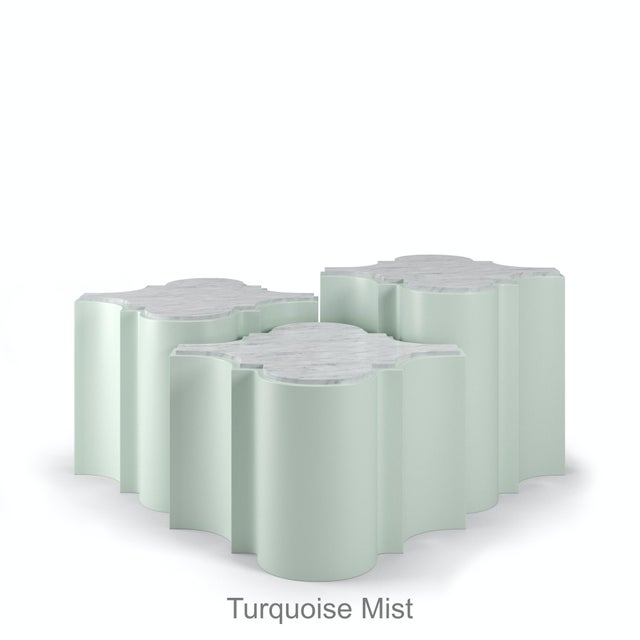 Sofia Nesting Tables, Set of 3 - Turquoise Mist For Sale In Los Angeles - Image 6 of 6