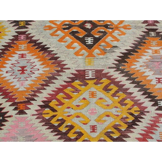 Pink Vintage Turkish Kilim Rug - 5′2″ × 7′7″ For Sale - Image 8 of 11