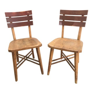 Vintage Schoolhouse Chairs - a Pair For Sale