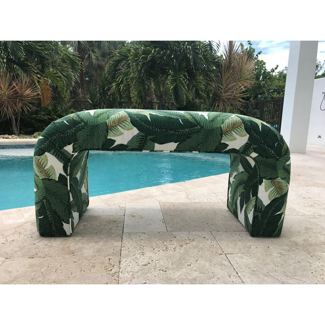 Karl Springer Style Upholstered Waterfall Bench - Image 3 of 7