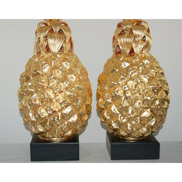 The Marbro Lamp Company Marbro Italian Ceramic Pineapple Table Lamps Gold For Sale - Image 4 of 11
