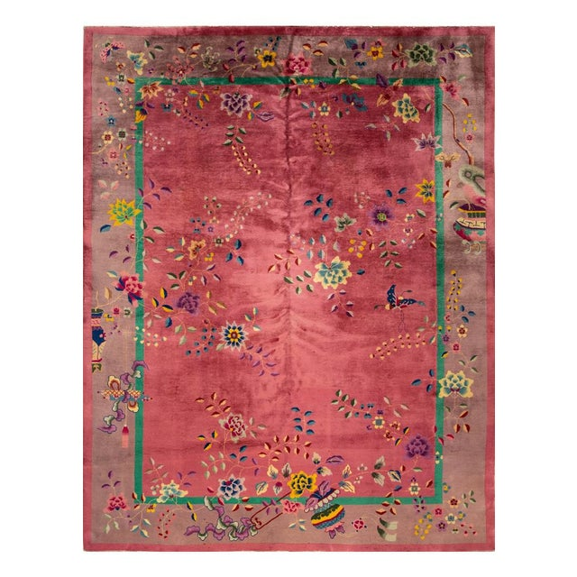 Early 20th Century Antique Art Deco Chinese Wool Rug For Sale - Image 11 of 11