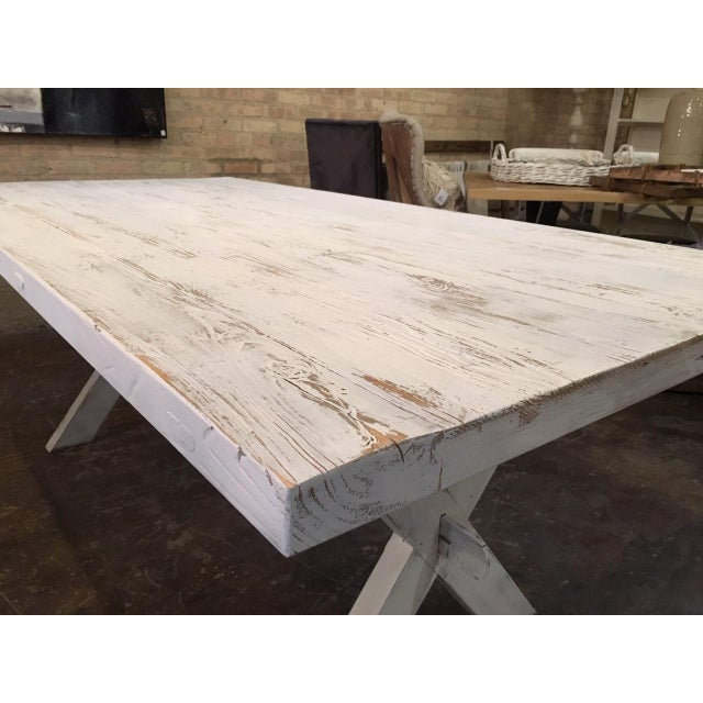 Early 21st Century Shabby Chic White Distressed Farmhouse Dining Table For Sale - Image 5 of 10