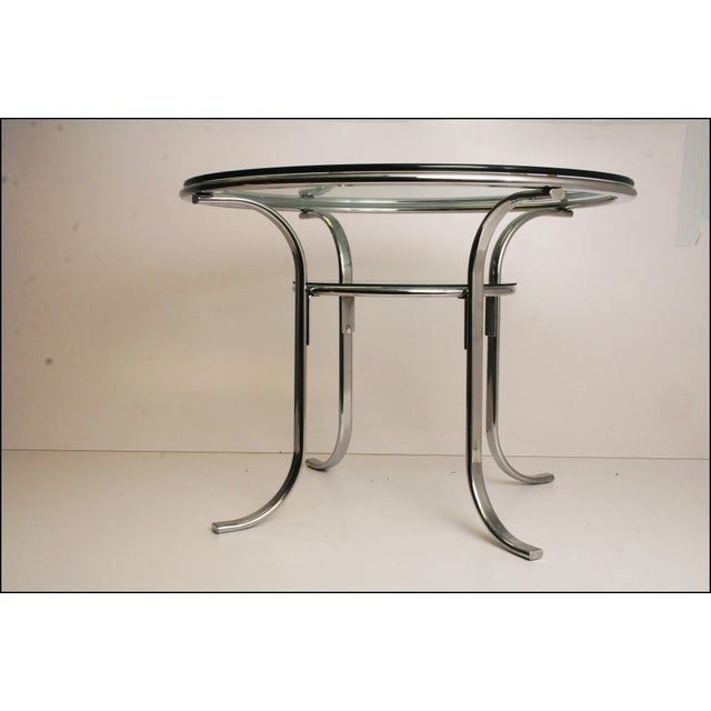 Mid-Century Modern Chrome & Glass Dining Table - Image 10 of 11