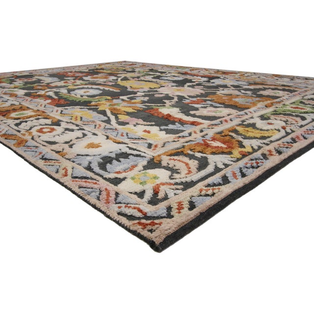 30375, Geometric Modern and Contemporary High-Low Area Rug, 10'09 X 13'08. With its inviting color palette, this...