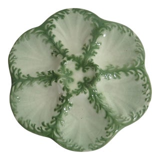 Late 19th Century Vintage Keller Et Guerin Saint Clement Majolica Seaweeds Oyster Plate For Sale