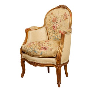 Early 20th Century Louis XV Style Giltwood and Tapestry Fauteuil Chair For Sale