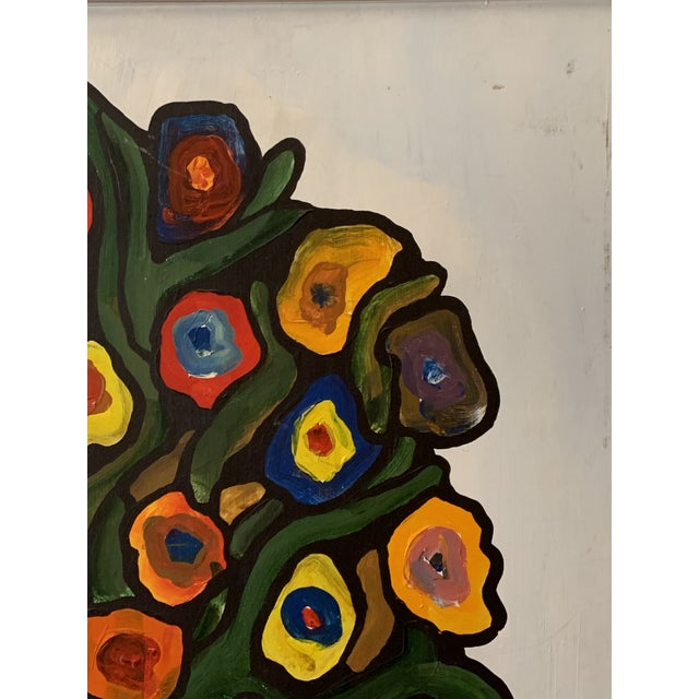 1970s Vintage 1970's Abstract Original Flowers Oil Painting Signed Hawthorne For Sale - Image 5 of 10