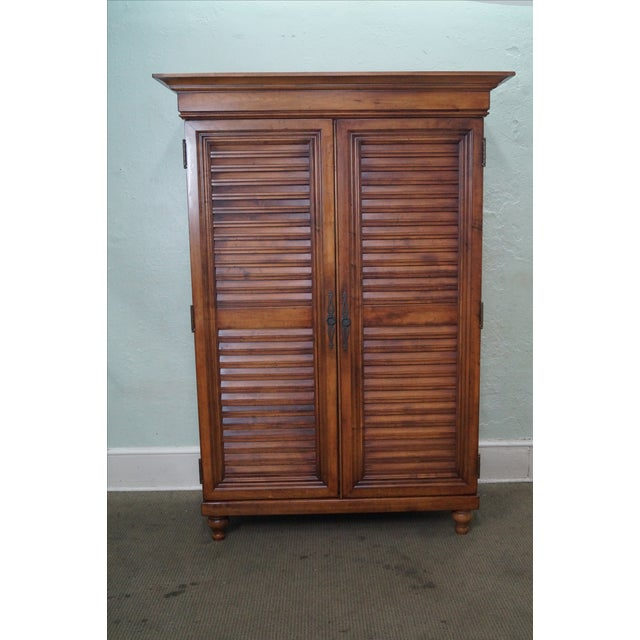 Tommy Bahama for Lexington Large Maple Louvered Door Armoire AGE/COUNTRY OF ORIGIN: Approx 15 years, America...