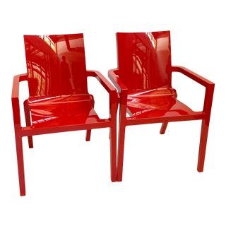 Deauville Red Pillet Chairs - a Pair For Sale