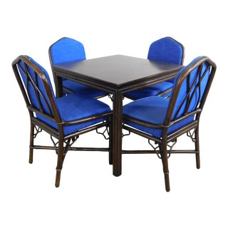 Ficks Reed Vintage Rattan Square Dining Table + 4 Chairs Set For Sale