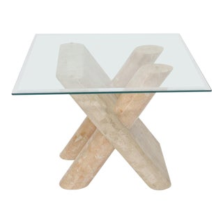 Tessellated Stone Rounded X-Shape Base Side Occasional Square Glass Top Table For Sale