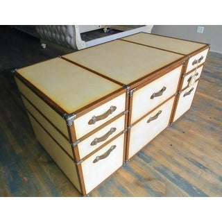 Campaign Century Furniture Vellum Home Office Campaign Trunk Executive Desk with Chairs - 2 Pieces Preview