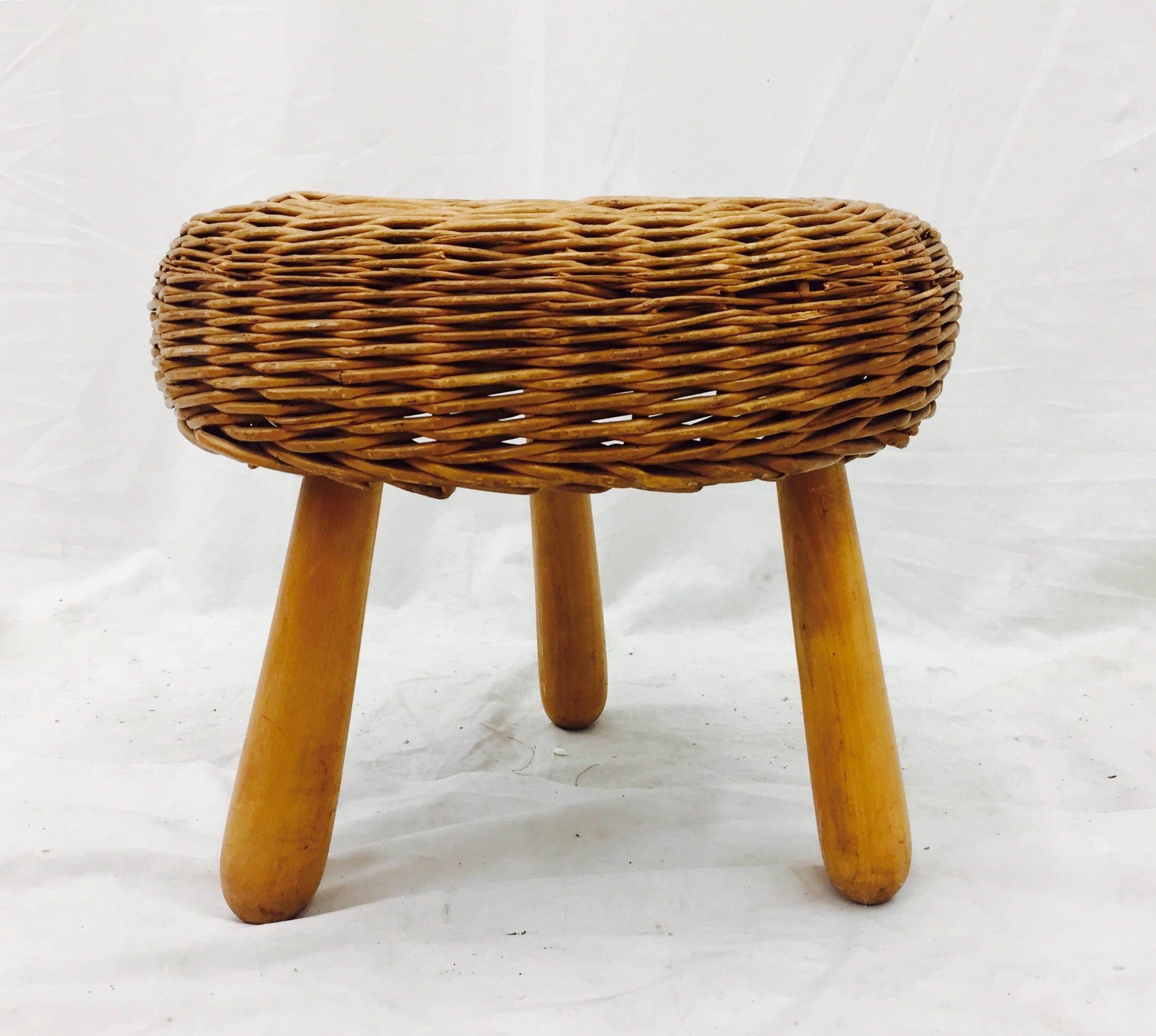 Vintage Tony Paul Rattan Stool Chairish