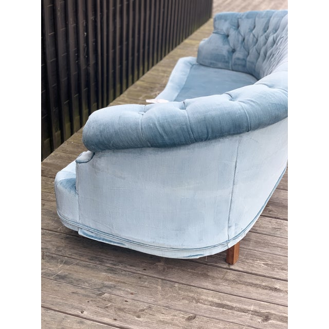 Mid Century Modern Sky Tufted Blue Chesterfield For Sale - Image 11 of 13