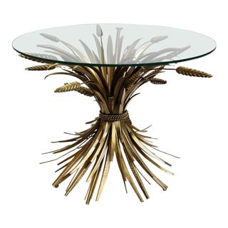 Vintage French Sheaf of Wheat Side Table Glass Top and Gilt Metal For Sale